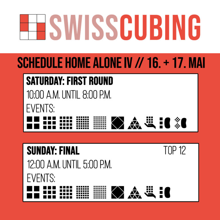 Swisscubing Home Alone IV Schedule
